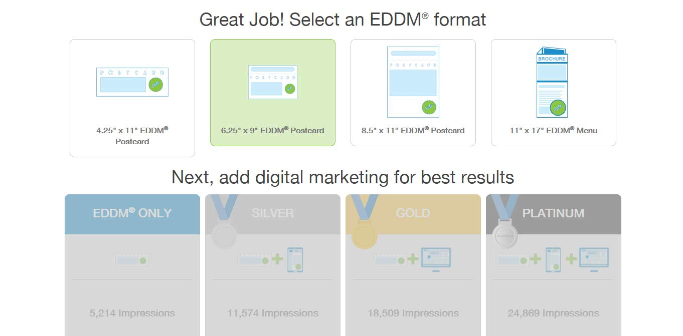 Select an EDDM® product format